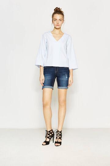Worn-effect denim Bermuda shorts