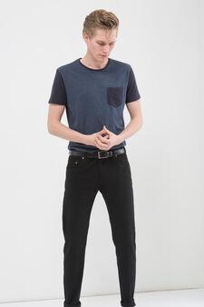T-shirt puro cotone con taschino, Blu, hi-res