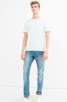 Two-pack 100% cotton round neck T-shirts, White/Green, hi-res