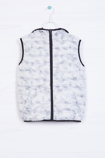 Padded waistcoat with geometric pattern, White, hi-res