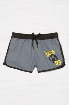 Swim shorts with print, Grey, hi-res