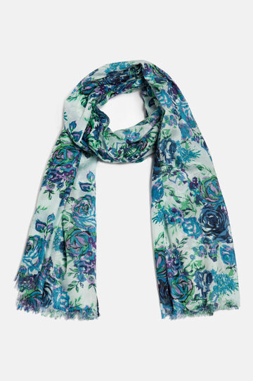 Floral print scarf in 100% viscose, Blue, hi-res