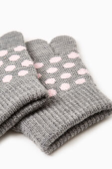 Solid colour gloves with polka dot embroidery, Grey, hi-res