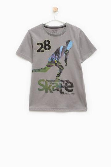 Printed cotton T-shirt, Grey, hi-res