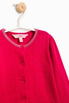 Cardigan with glitter heart print, Cherry Red, hi-res