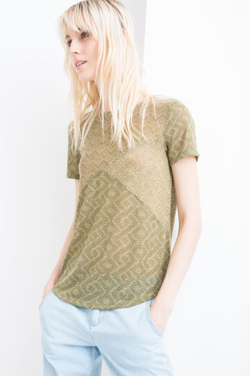 Stretch patterned T-shirt, Army Green, hi-res