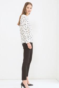 Cotton blend printed sweatshirt, Black, hi-res