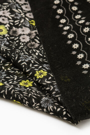 Solid colour scarf with floral print, Black/Yellow, hi-res