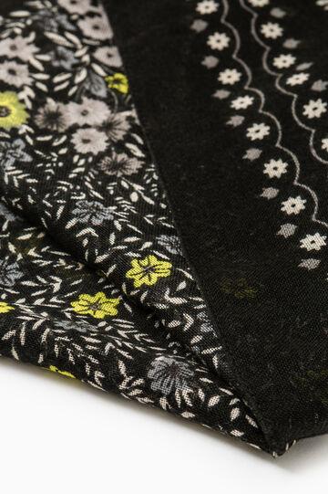 Sciarpa tinta unita stampa floreale, Nero/Giallo, hi-res