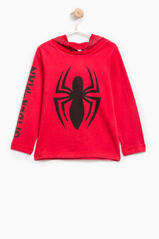 100% cotton hoodie with Spiderman print, Red, hi-res