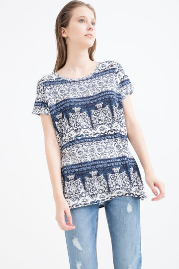 Patterned T-shirt in stretch viscose, Blue, hi-res
