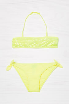Bikini stretch con paillettes, Giallo, hi-res