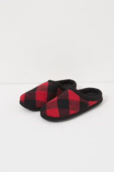 Check canvas slippers, Black/Red, hi-res