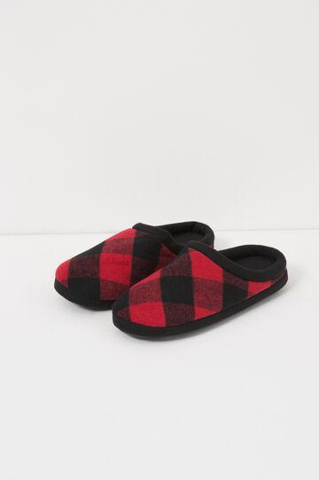 Pantofole in tela a quadri, Nero/Rosso, hi-res