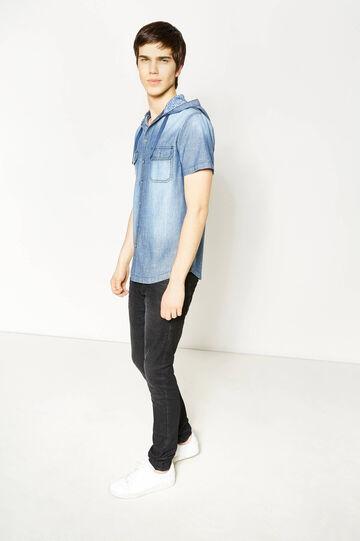 Casual denim shirt with hood