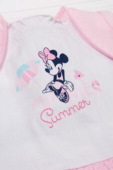 Minnie Mouse cotton print romper suit., White/Pink, hi-res