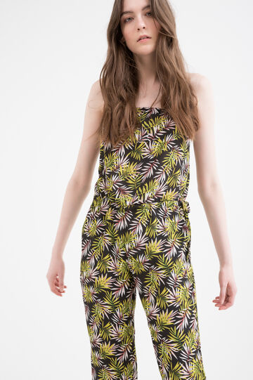 Printed playsuit, Black, hi-res