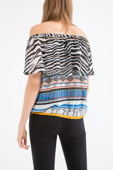 Blouse with boat neck, Multicolour, hi-res