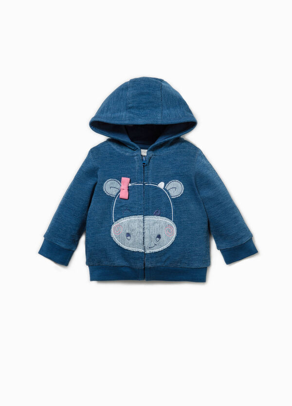 Cotton hoodie with embroidery | OVS