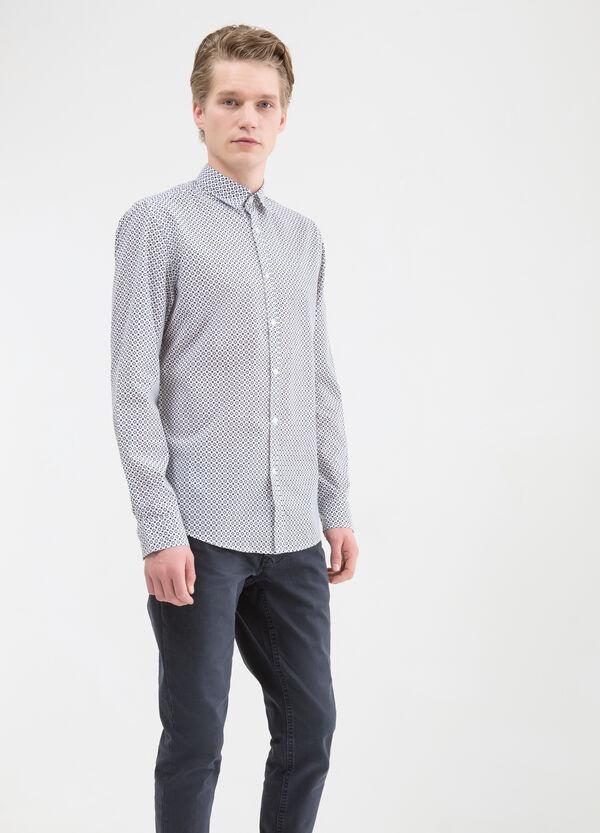 Camicia fantasia a contrasto cotone | OVS