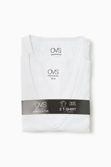 Two-pack undershirts with V neck, Optical White, hi-res