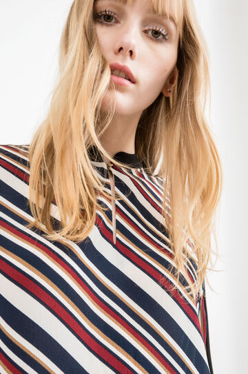 Stretch blouse with all-over striped print, Blue, hi-res