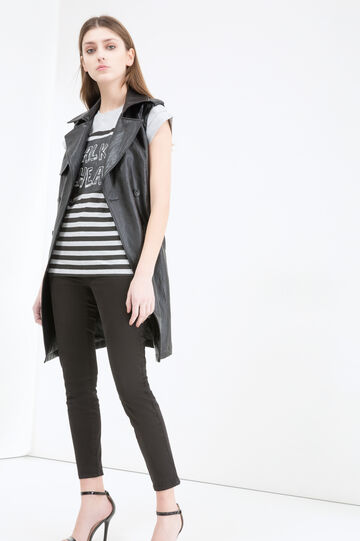 Cotton T-shirt with striped pattern, Black/Grey, hi-res