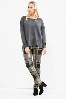 Curvy stretch tartan trousers, Black/Grey, hi-res