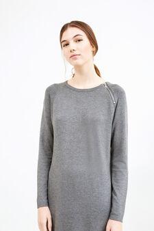 Stretch viscose dress with zip, Grey Marl, hi-res