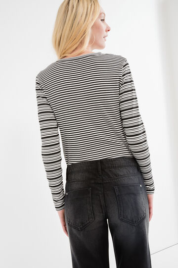 Long-sleeved striped T-shirt, White/Black, hi-res