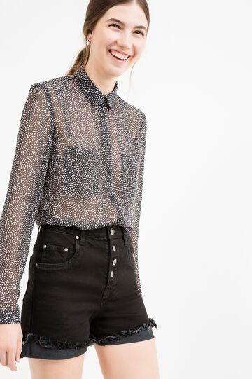 Semi-sheer shirt with all-over print, Black, hi-res