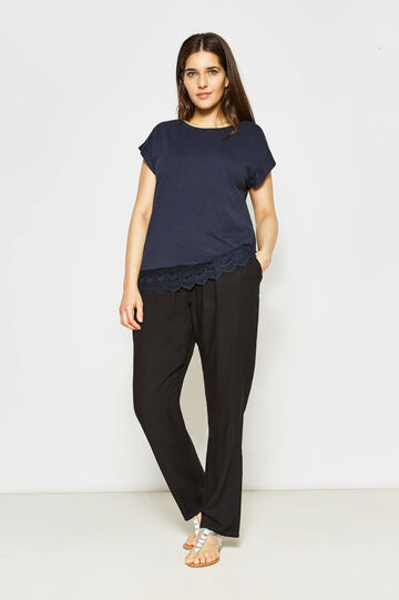 Curvy cotton T-shirt with lace