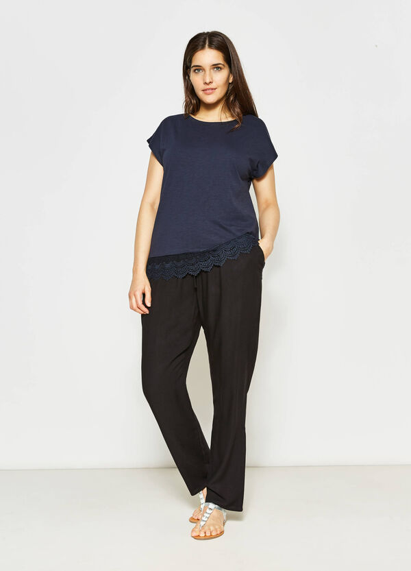 Curvy cotton T-shirt with lace | OVS
