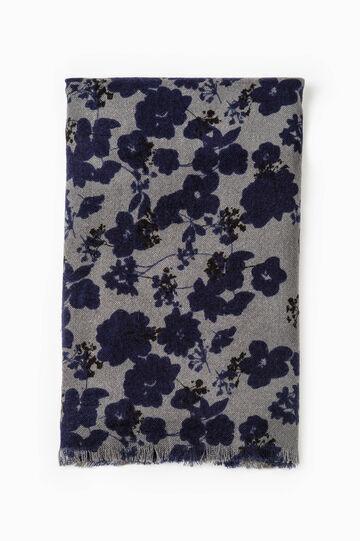 Floral printed scarf, Grey/Blue, hi-res