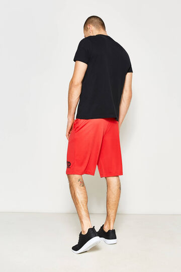 Bermuda shorts in cotton with print, Red, hi-res