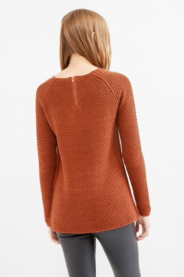 Chunky knit pullover with zip on the back, Tobacco Brown, hi-res