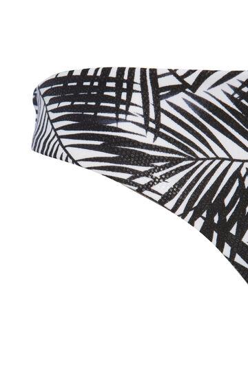 Stretch floral Brazilian bottoms, White/Black, hi-res
