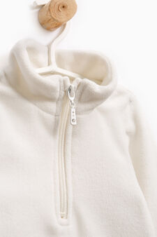 Solid colour sweatshirt with high neck, Milky White, hi-res