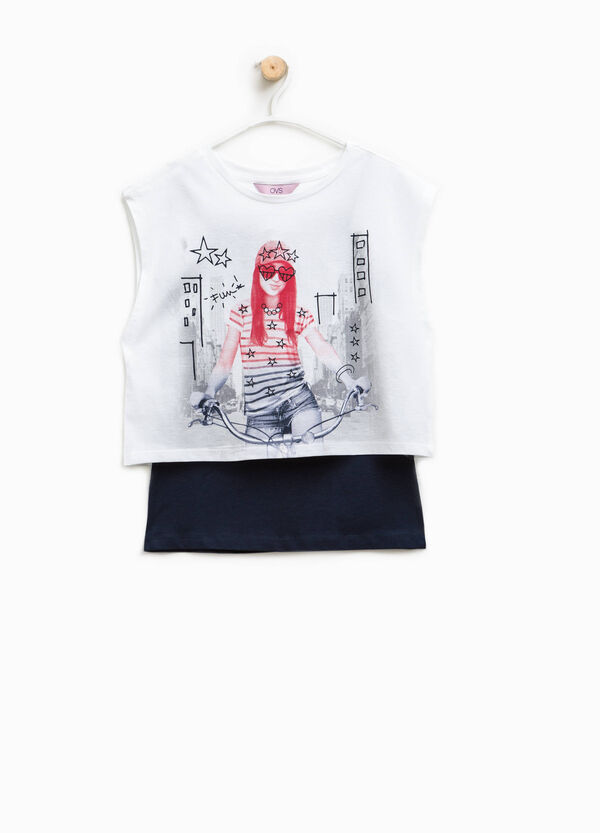 Faux-layered printed T-shirt | OVS