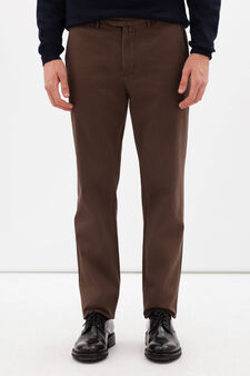 Rumford stretch cotton trousers with zip, Brown, hi-res