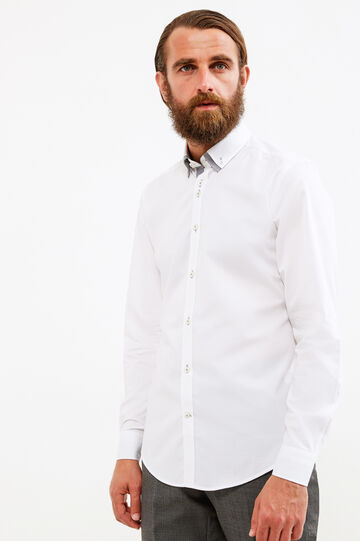 Slim-fit cotton formal shirt with double collar, White, hi-res
