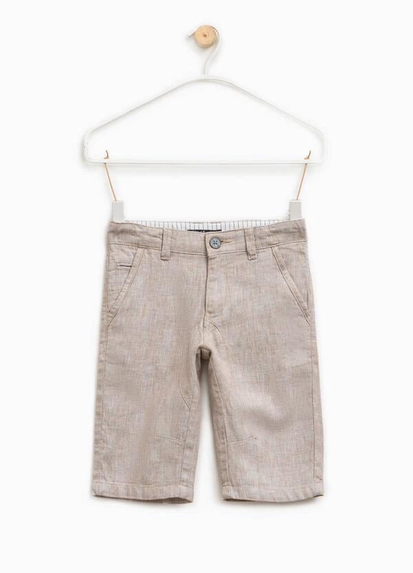 Solid colour linen and cotton Bermuda shorts | OVS