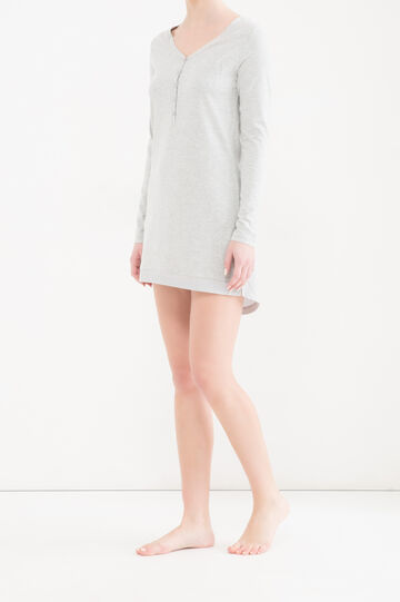 Solid colour cotton nightshirt., Grey Marl, hi-res