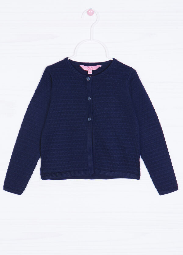 Solid colour cotton blend cardigan | OVS