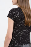 Stretch T-shirt with pattern, Black, hi-res