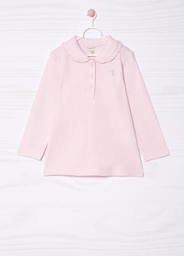 Diamanté polo shirt in 100% cotton | OVS