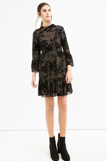 Dress with flounces and floral pattern, Black, hi-res