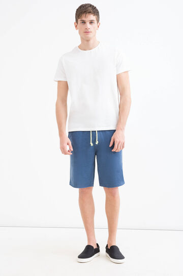 Solid colour cotton blend Bermuda shorts