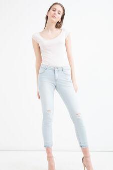 T-shirt puro cotone taglio al vivo, Rosa polveroso, hi-res
