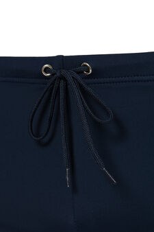 Solid colour stretch boxer shorts with lining, Navy Blue, hi-res